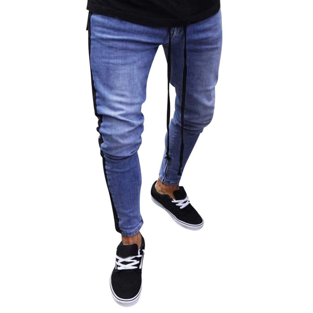 ErYao Mens Stretch Denim Pants Distressed Ripped Freyed Slim Fit Zipper Jeans Trousers (Black, 2XL)