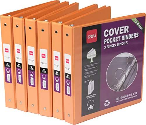 Recyclable Materials (DELI Durable Environment Recyclable Material View Binder with Round Ring and Inside Pocket,US Letter Size (Orange) Pack of 6)