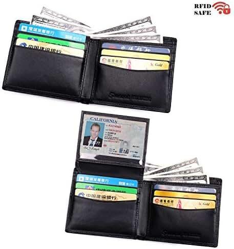 Tourark Mens Wallets RFID Blocking Luxury Napa Genuine Leather Slim Bifold Flip up ID
