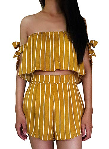(Women's Bohemian Striped Printed Crop Top with High Waist Shorts Two Piece Outfit Suit Set (Mustard Stripe, US4))