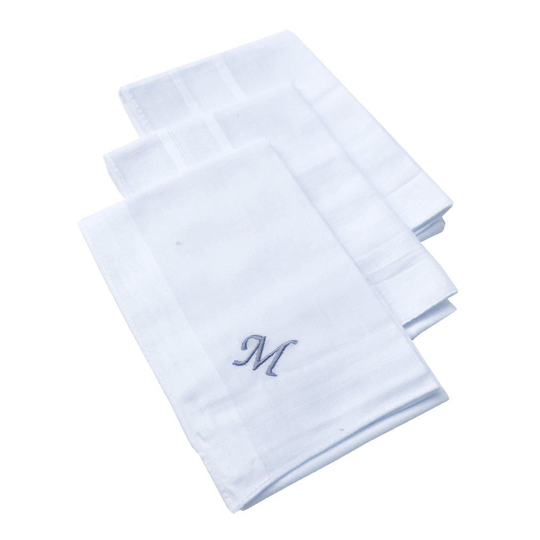 OWM Handkerchief Pack of 3 Cotton Embroidered Initial Monogram Handkerchief Men (''M'', White)