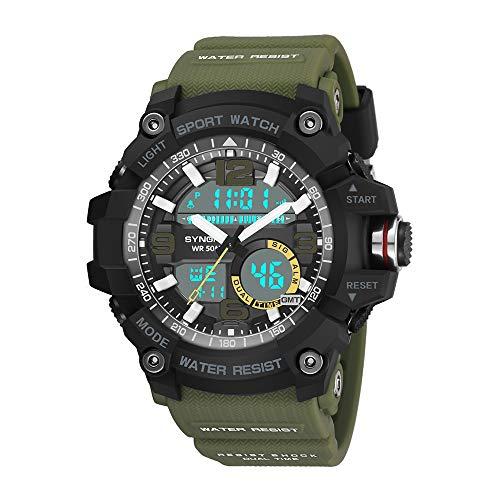 Sport watch, Ugood Sports Watches Large Dial Digital Quartz LED Military Waterproof Men Wrist Watch (Army Green)