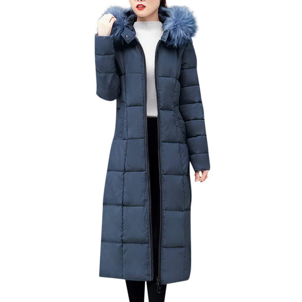 Riou Damen Daunenmantel Lang Winter Warme Pelzkragen mit Kapuze Rei/ßverschluss Elegant Lange Wintermantel Steppmantel