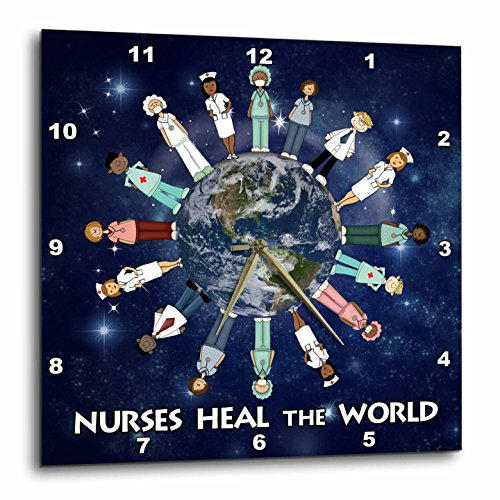 Globe Clock (3dRose dpp_79459_3 Nurses Heal The World Planet Earth with Male and Female Nurses of All Cultures Circling The Globe Wall Clock, 15 by 15-Inch)
