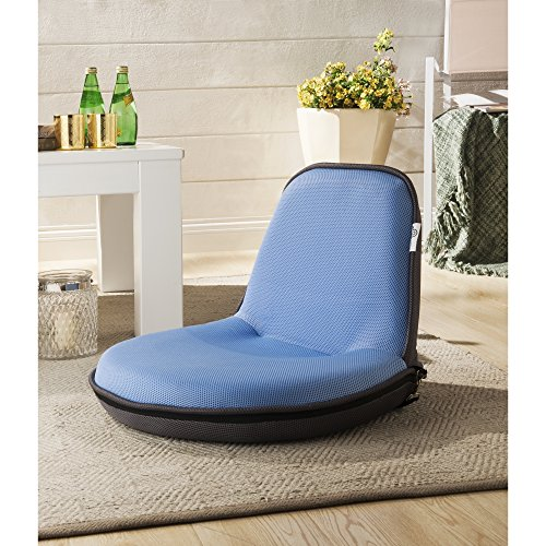 Loungie Blue Mesh Floor Chair - Foldable | Portable with Strap | Indoor/Outdoor | by Inspired Home