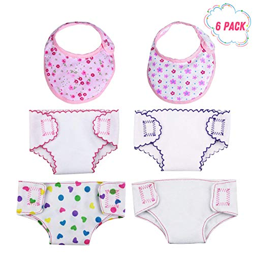 (DC-BEAUTIFUL 4 Pcs Doll Diapers Doll Underwear and 2 Pcs Doll Bibs for 14-18 Inch Baby Dolls, American Girl Doll )