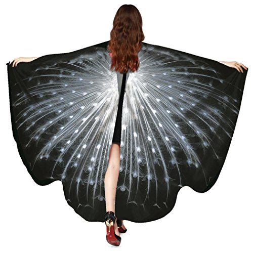 Accessories Black Wings Costume (Creazy Women Peacock Wings Shawl Scarves Ladies Nymph Pixie Poncho Costume Accessory)