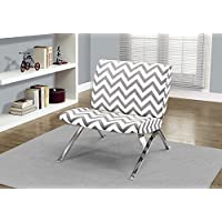 Monarch Specialties Grey Chevron Fabric/Chrome Metal Accent Chair, 31-Inch