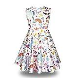 Minilove Gilrs Unicorn Rainbow Dress(6,White)