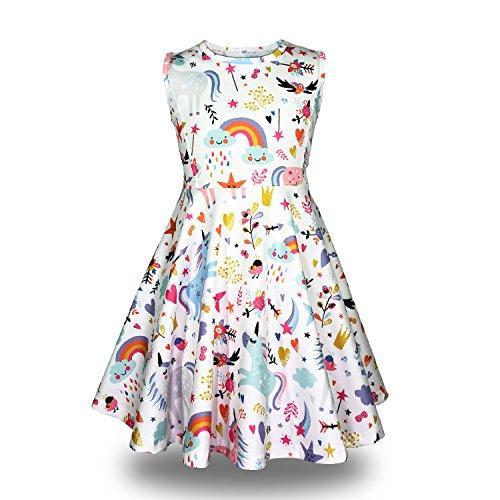 Minilove Gilrs Unicorn Rainbow Dress(6,White) -