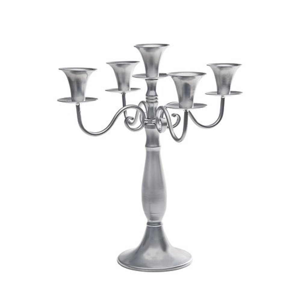 5 LIGHT CRYSTAL CANDELABRA W SILVER SWIRL STEM - candelabra Studio Silversmiths AX-AY-ABHI-31332