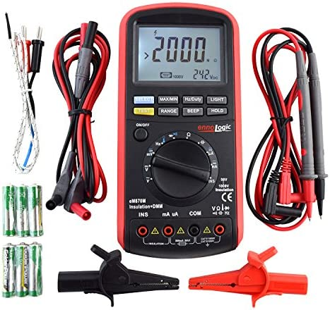 Insulation Tester 50 100 250 500 1000V, Megohmmeter and Multimeter 50k to 2G Insulation Resistance, DC AC TRMS Voltage and Current, Resistance, Capacitance, Frequency, Temperature