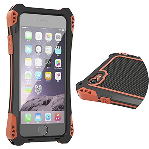 R-Just iPhone 6 Plus Case Waterproof Shockproof Aluminum Gorilla Glass Metal for iPhone 6 Plus (5.5-Inch) Black/Red /Black
