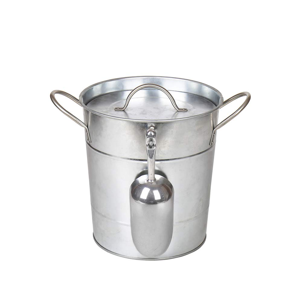 Hot Sale T586 4L Silver Metal Galvanized Double Walled Ice Bucket Set With Lid And Scoop by Home by Jackie Inc