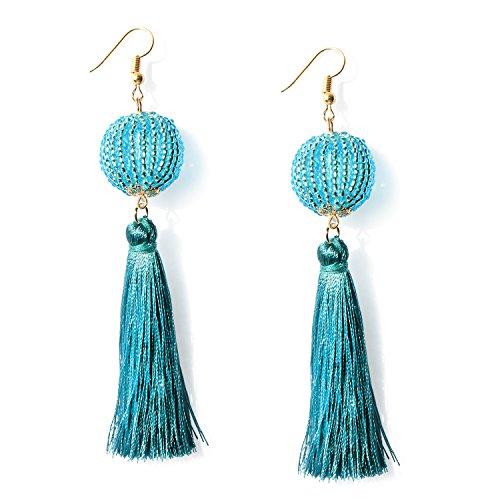 Teal Blue Beaded Ball Tassel Drop Earrings Bohemian Long Tassel Dangle Fashion Earrings for Women (Teal Womens Earring)
