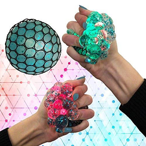 Upgraded Led Anti Stress Ball - Squishy Light up Ball - Anti Stress Toys - Toys for Kids - Mesh Stress Ball - Grape Ball - DNA Ball - Slime Stress Ball - ADHD Fidget Toys - Net Stress Squishy Ball.