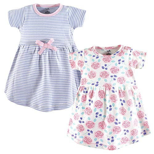 Touched by Nature Baby Girl Organic Cotton Dresses, Pink Rose Short Sleeve 2-Pack, 6-9 Months (9M) -