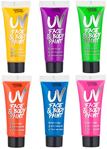 UV Glow Blacklight Face and Body Paint - 6 Color Variety Pack - 10ml - Day or Night Stage, Clubbing or Costume Makeup by Splashes & Spills -