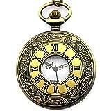 CSMARTE Roman Numerals Antique Bronze Tone Half Hunter White Dial Modern Pocket Watch with Chain
