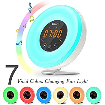 Salute Wake Up Sunrise Light Alarm Clock, FM Radio, Sunset Simulator, 6 Natural Sounds, 7 Color Night Light, 11 Mode Brightness, Touch Control, Smart Snooze Function, USB Charger for Heavy Sleepers including Adults and Kids
