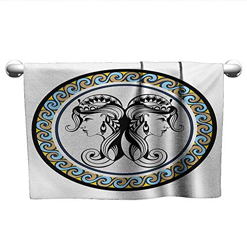 - LilyDecorH Zodiac Gemini,Best Bath Towels Horoscopes Theme with Wavy Circular Border and Antique Sister Women Portraits Eco-Friendly Multicolor W 10