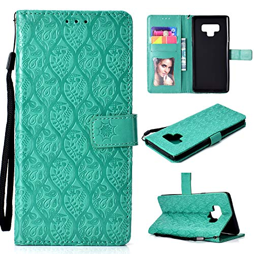 Galaxy Note 9 Case -MOONESS Blue Embossing Fashion Floral PU Leather Case,Magnetic Flip Kickstand Cover Card Holders & Hand Strap Samsung Galaxy Note 9(T-Green)