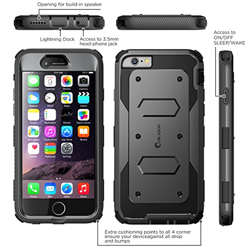 iPhone 6s Plus Case, [Armorbox] i-Blason Builtin [Screen Protector] Heavy Duty Shock Reduction [Bumper] for Apple iPhone 6 Plus 5.5 Inch (Black) by i-Blason (Image #1)