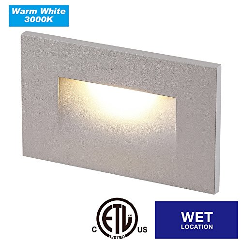 Cloudy Bay CBST003830WH LED Indoor Outdoor Step Light,3000K Warm White 3W 100lm,Stair Light,White Finish