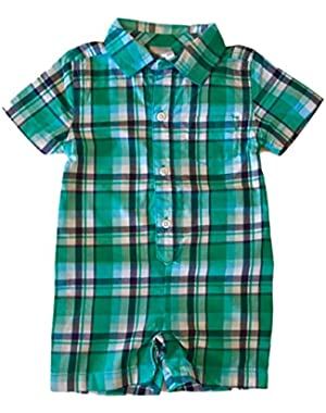 Baby Boys' Short Sleeve Plaid One Piece Romper (3-6M)