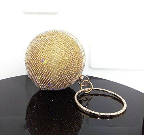 Maquillage Diamant Soir d'embrayage Sacs Lady jaune main à fête rond Ruiio de Sac de luxe mariage SOqwwX