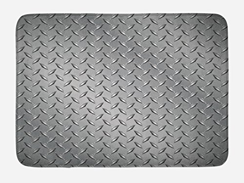 (Ambesonne Grey Bath Mat, Cross Wire Fence Netting Display with Diamond Plate Effects Chrome Kitsch Motif Print, Plush Bathroom Decor Mat with Non Slip Backing, 29.5 W X 17.5 L Inches, Silver )