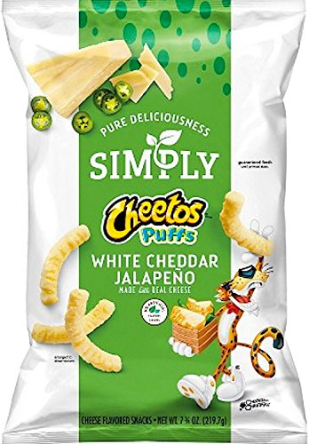 Cheetos Puffs Simply White Cheddar Jalapeño Cheese Flavored Snack Limited Edition- 7.75oz (1)
