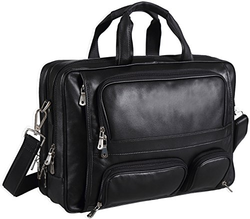 Polare Real Leather 17''Laptop Carry On Overnight Bag Business Briefcase Large For Men