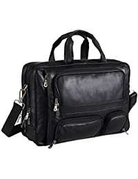 Polare Real Leather 17''Laptop Carry On Overnight Bag Business Briefcase Large For Men (black)