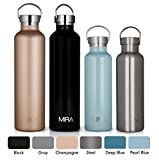 MIRA 34 oz Stainless Steel Vacuum Insulated Water Bottle | Keeps Your Drink Cold for 24 hours & Hot for 12 hours, Does Not Sweat | Large Capacity Sports Water Bottle with 2 Lids | 1 liter Champagne