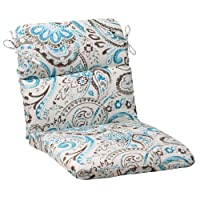 Pillow Perfect Indoor/Outdoor Paisley Rounded Chair Cushion, Tidepool by Pillow Perfect