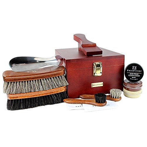 FootFitter Premium Shoe Shine Valet Deluxe 10 Piece Set - Quality Shoe Polishing Kit!