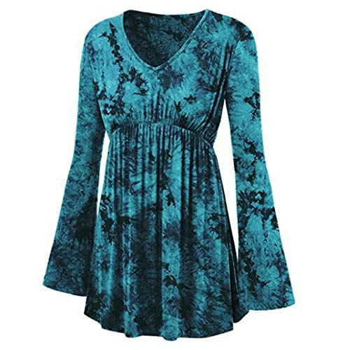 (Toimoth Women Plus Size V-Neck Tie-Dye Print Long Sleeve Tops Pleated Waist Line)