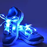 AcTopp LED Shoelaces High Visibility Soft Nylon Light Up Shoelace with 4 Modes Rainbow Colors for Night Running, Biking, Disco, Party, Cosplay, Hip-hop Dance Safety and Cool (Blue(white light))