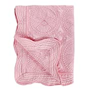 Toddlers and Baby Quilt Lightweight Blanket Embossed Cotton Quilt 4 Seasons Scalloped Newborn Baby Boy /girl (Pink)