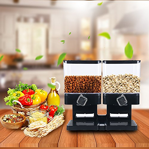 Compact Dry Food Dispenser, Dual Control, Dry Food Cereal Dispenser for Cereal Trail Mix Candy Granola Nuts Beans Rice, Black/Chrome (Indispensable Dry Food Dispenser)