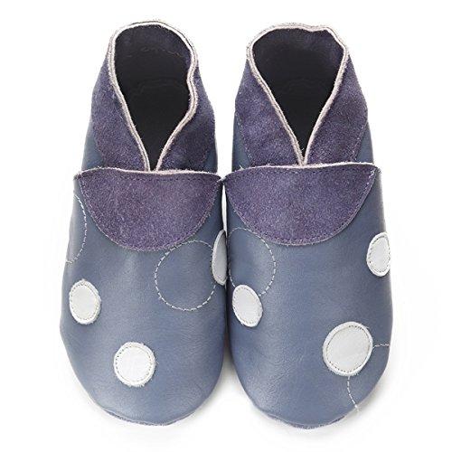 Didoodam - Chaussons bébé - Bleu de pois