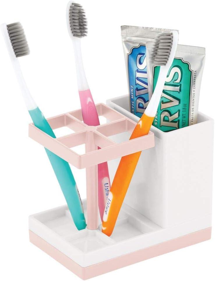 Bicchiere portaspazzolini con 4 scomparti per spazzolini e uno per dentifricio mDesign Porta spazzolini da appoggio Contenitore per spazzolini bianco e argento opaco