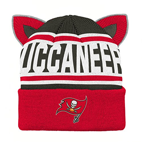 Outerstuff NFL Tampa Bay Buccaneers Team Ears Fleece Knit Hat Red, Infant One ()