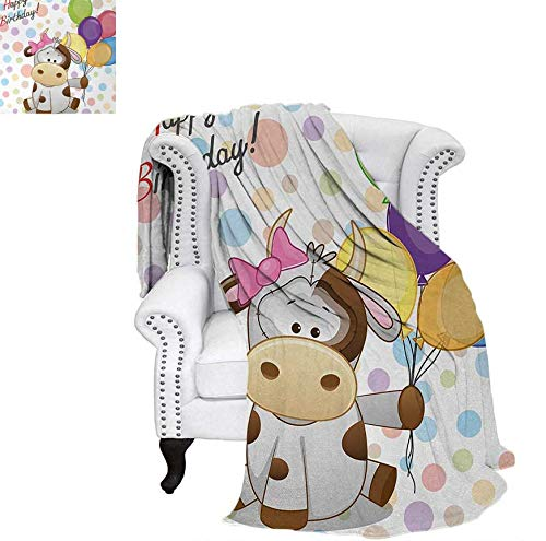 "Custom Design Cozy Flannel Blanket Baby Cow Animal and Colorful Balloons on Abstract Polka Dot Backdrop Print Weave Pattern Blanket 60""x50"" Multicolor"