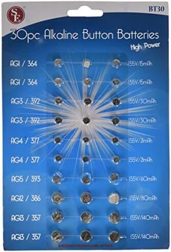 SE BT30 Assorted Alkaline Button Cell Batteries(30 Piece)