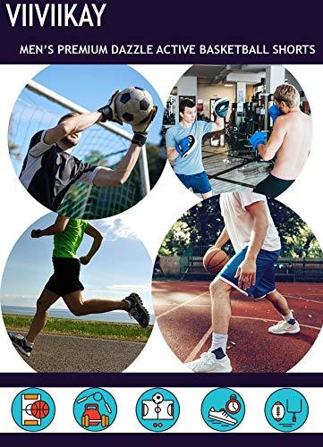ViiViiKay Mens Long Dazzle Baseketball Training Workout Gym Athletic Shorts