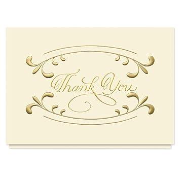 Amazon.com: dorado tarjeta de agradecimiento remolinos – 25 ...