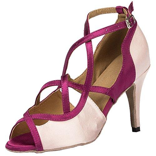 Salabobo L067 Womens Latin Tango Salsa Wedding Party Peep Toe Stiletto Professional Satin Dance Shoes Pink 2q1ICr