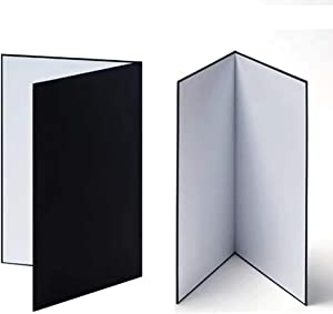 Light Reflector Cardboard 2 Pack 11x 16 Inch Photography Light Diffuser for Food Product Still Life Photo Shooting, Black/Silver/White Thick Paper Board